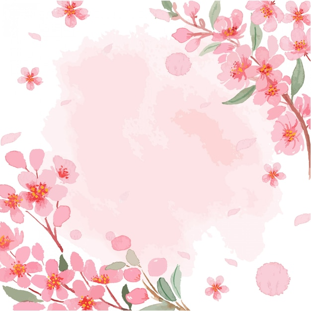 Watercolor sakura cherry blossom border frame with texture template Premium Vector