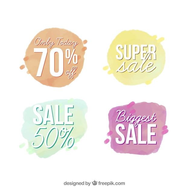 Watercolor sale banners Free Vector