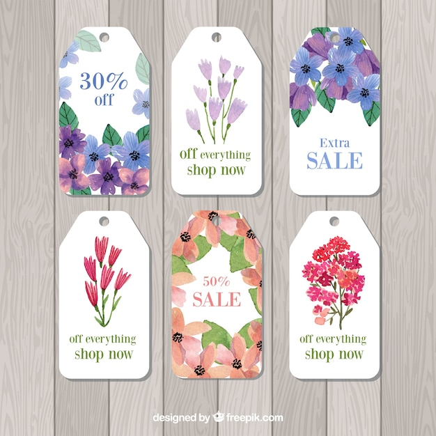 Watercolor sale tags collection Free Vector