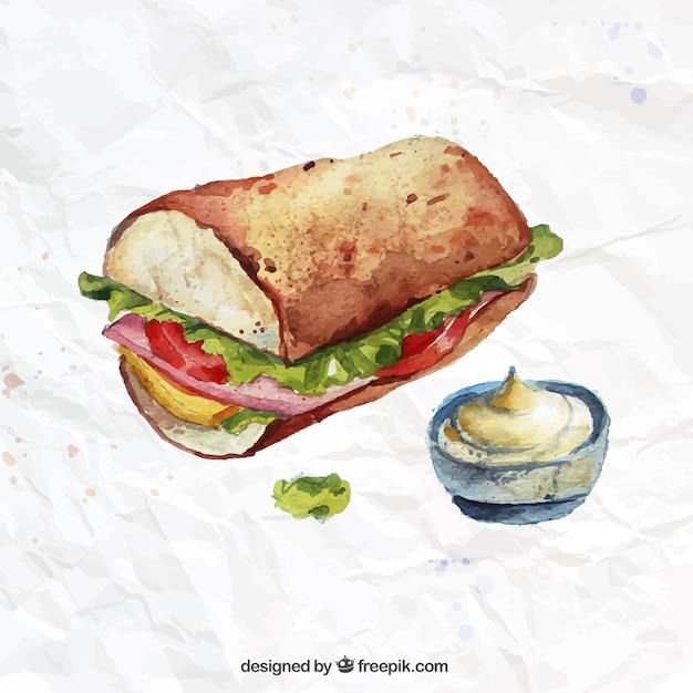 Free Vector Watercolor Sandwich