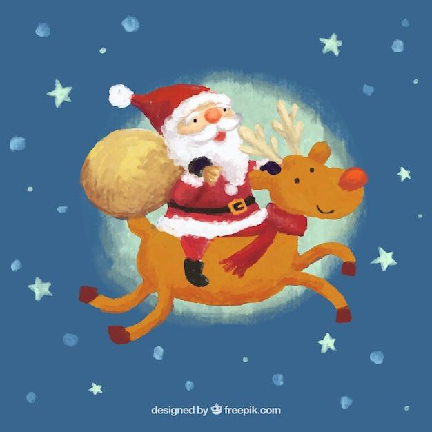 Watercolor santa claus and reindeer Vector | Free Download