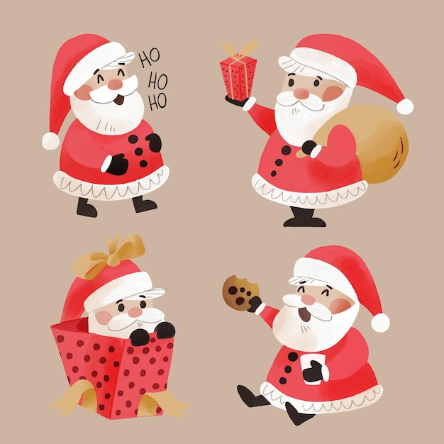 Watercolor santa claus character collection Premium Vector