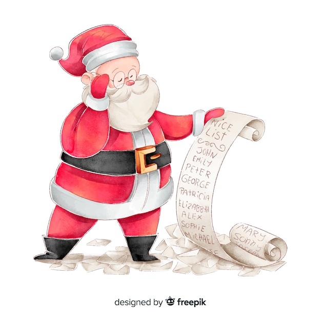 Watercolor santa claus checking wishes list Free Vector