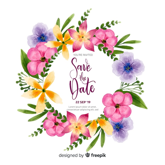 Watercolor save the date invitation template Free Vector