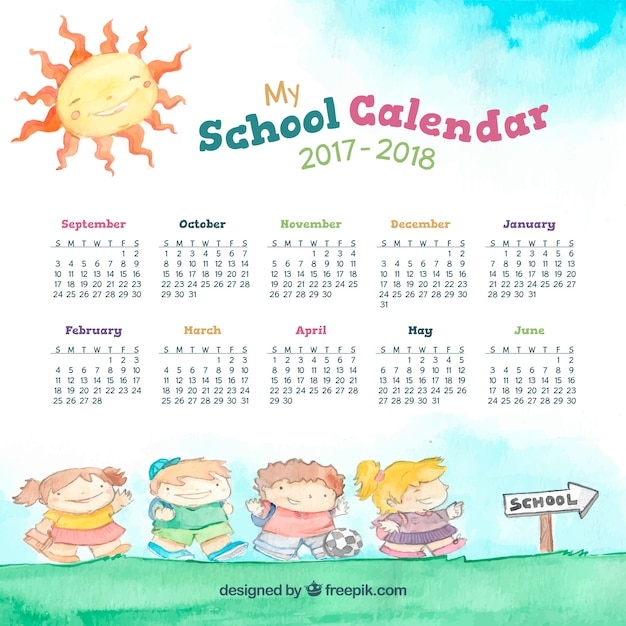 Watercolor school calendar with kids on the way to school Free Vector