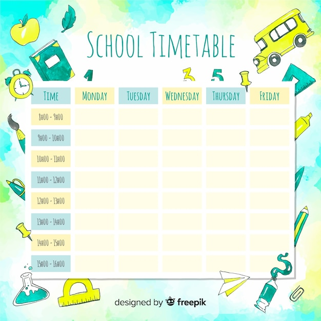 Watercolor school timetable with elements Free Vector