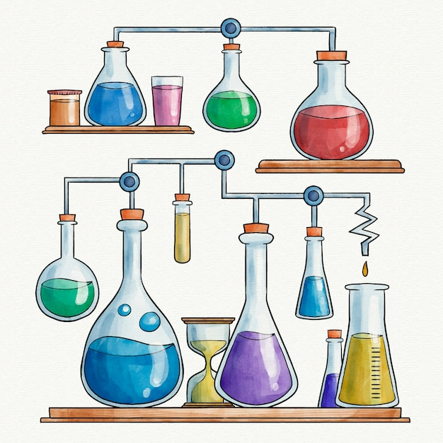 Watercolor science lab design Free Vector