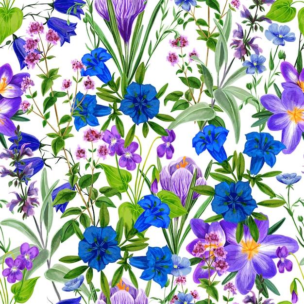 Акварель бесшовные модели, дикие полевые цветы и травы Premium векторы