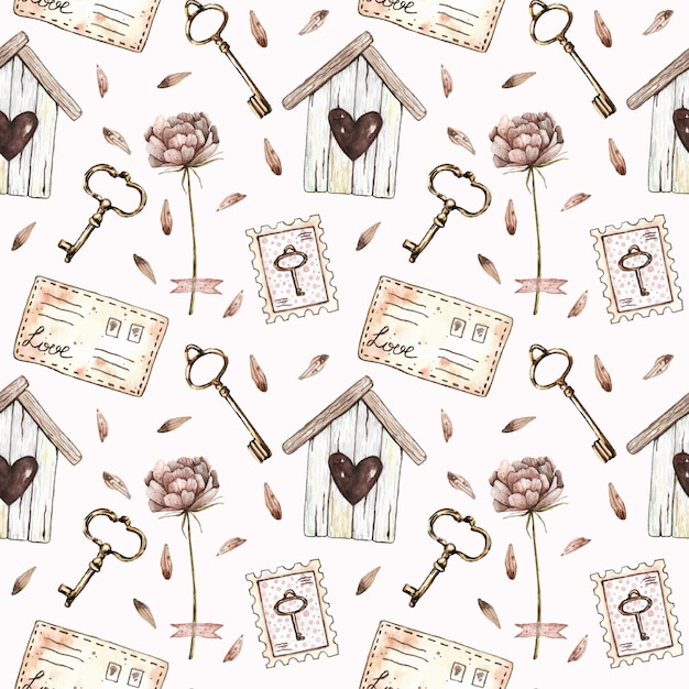 Watercolor seamless pattern with birdhouse, peony, keys, stamps and letters in vintage style. Premium Vector