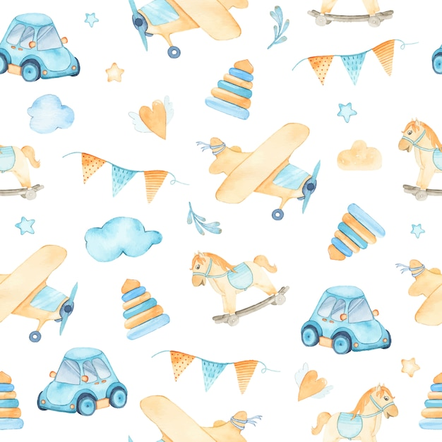 Watercolor seamless pattern with boys toys car airplane pyramids flags rocking horse Free Vector