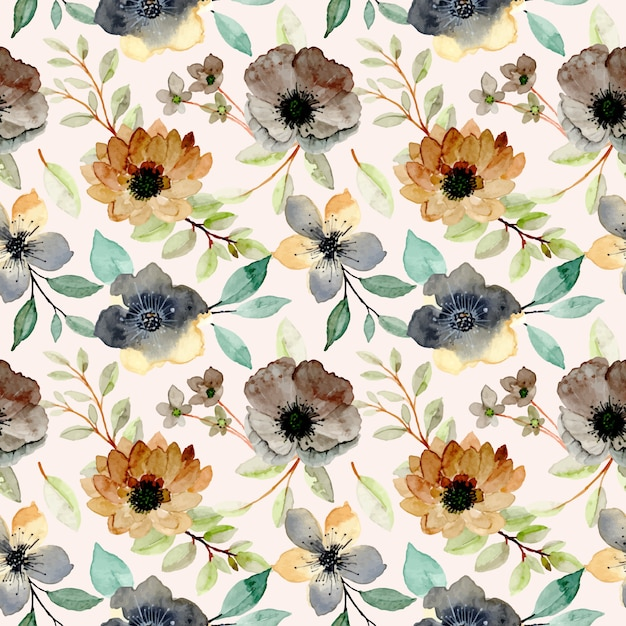 Watercolor seamless pattern with brown flower and green leaves Premium Vector