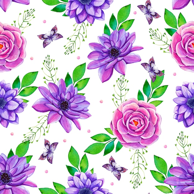 色とりどりの花で水彩のシームレスパターン Premiumベクター