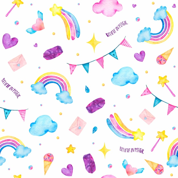 Watercolor seamless pattern with cute magic unicorn, ice-cream, magic wand, clouds isolated Free Vector