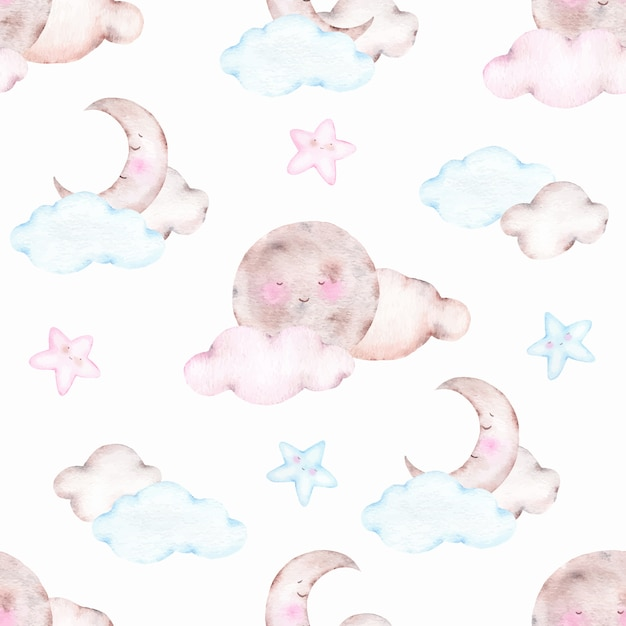 Watercolor seamless pattern with cute sleeping moon crescent Free Vector