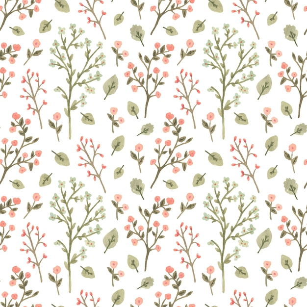 Watercolor seamless pattern with flowers in a romantic style. Premium Vector