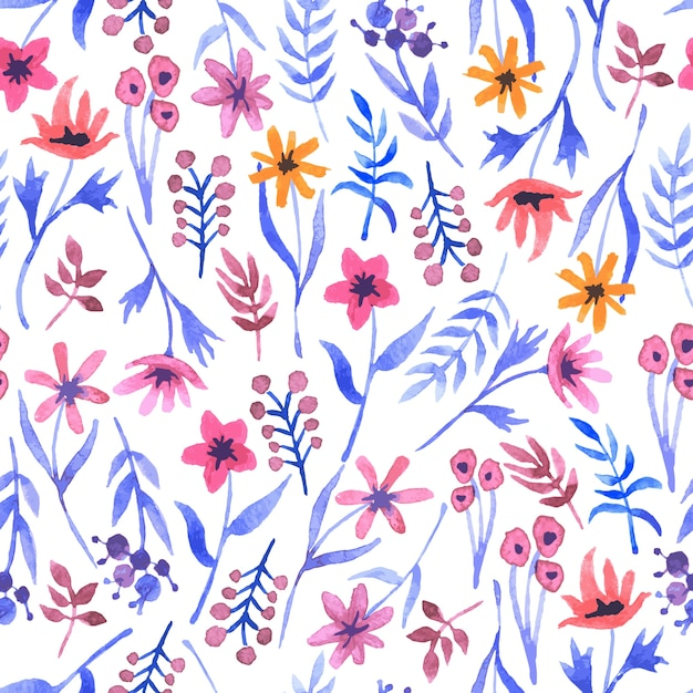 Watercolor seamless pattern with flowers Free Vector