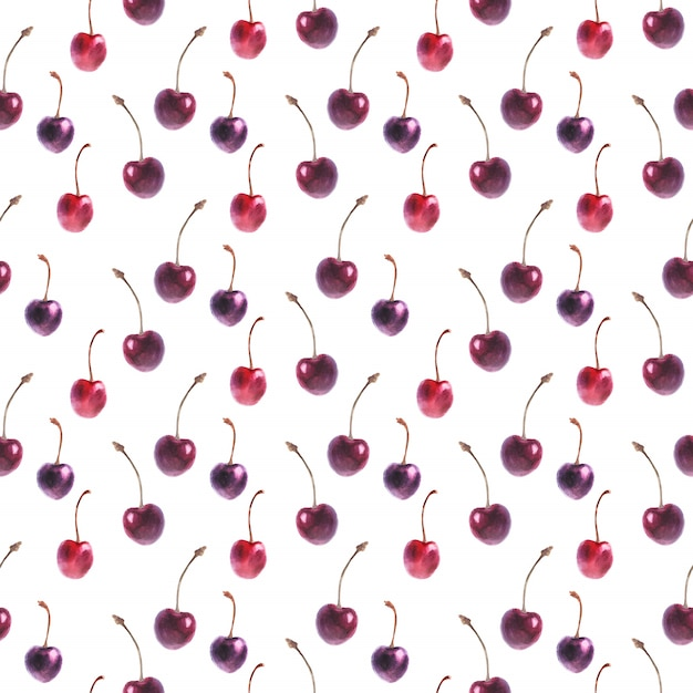 Watercolor seamless pattern with fresh cherry Premium Vector