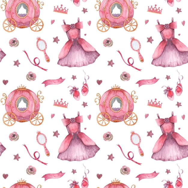 Watercolor seamless pattern with little princess apparel and accessories Premium Vector
