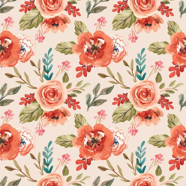 春のオランの花と水彩のシームレスなパターン Premiumベクター