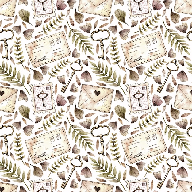 Watercolor seamless pattern with plants, keys, stamps and letters in vintage style. Premium Vector
