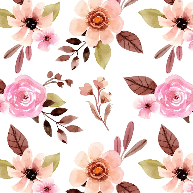 Watercolor seamless pattern with pretty pink rose and cream flower Premium Vector