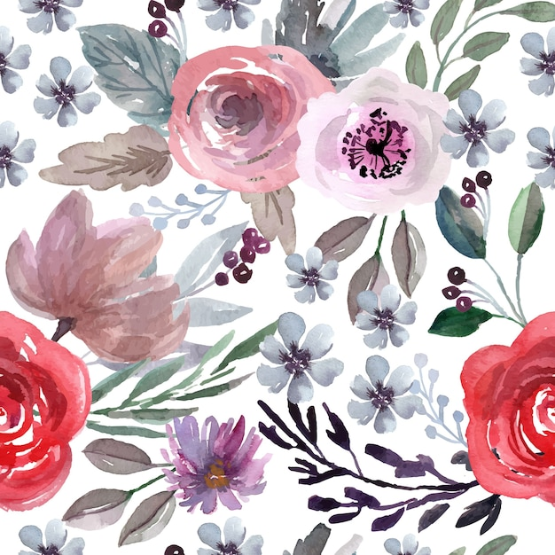 Watercolor seamless pattern with red rose and purple flowers Premium Vector