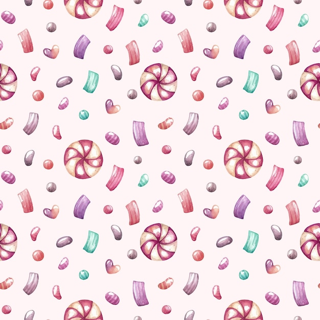 Watercolor seamless pattern with sweets and confetti Premium Vector