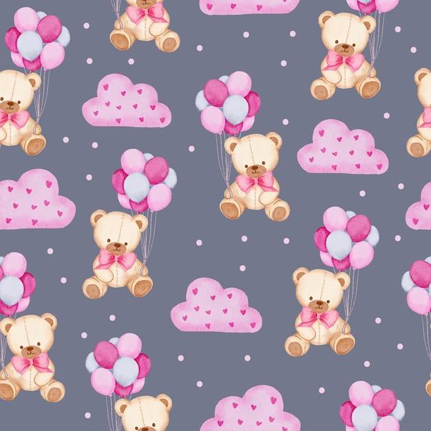 Акварель бесшовный образец с плюшевым мишкой, держащим воздушный шар и розовое облако, изолированный элемент концепции акварель валентина прекрасный романтик для украшения, иллюстрации. Бесплатные векторы