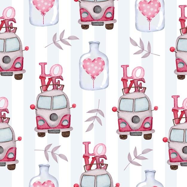 愛とボトルの心のヴァンと水彩のシームレスなパターン、装飾、イラストのための素敵なロマンチックな赤ピンクの心の孤立した水彩バレンタインの概念要素。 無料ベクター