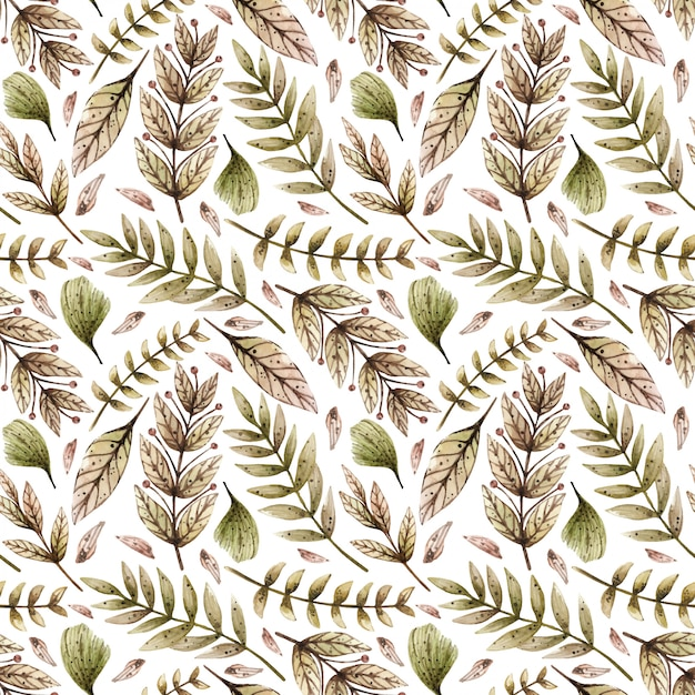 Watercolor seamless pattern with various wild leaves and plants. Premium Vector