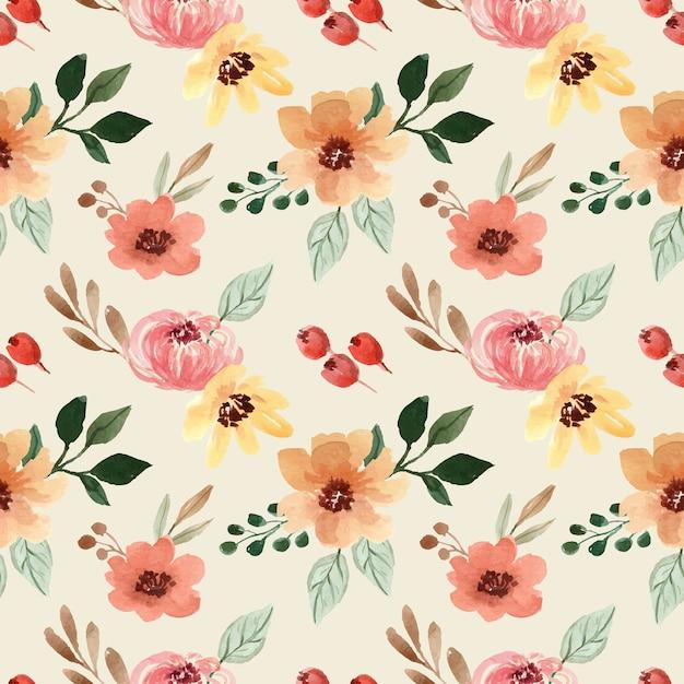 노란색과 주황색 꽃과 수채화 원활한 패턴 프리미엄 벡터