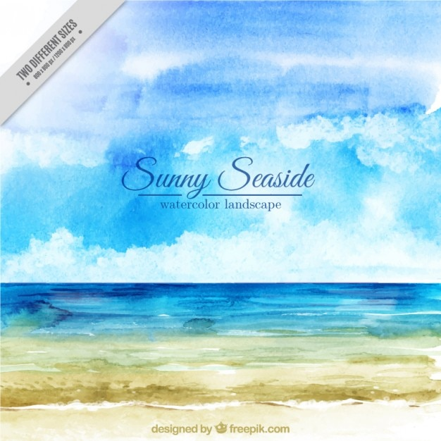 Watercolor seaside background Free Vector