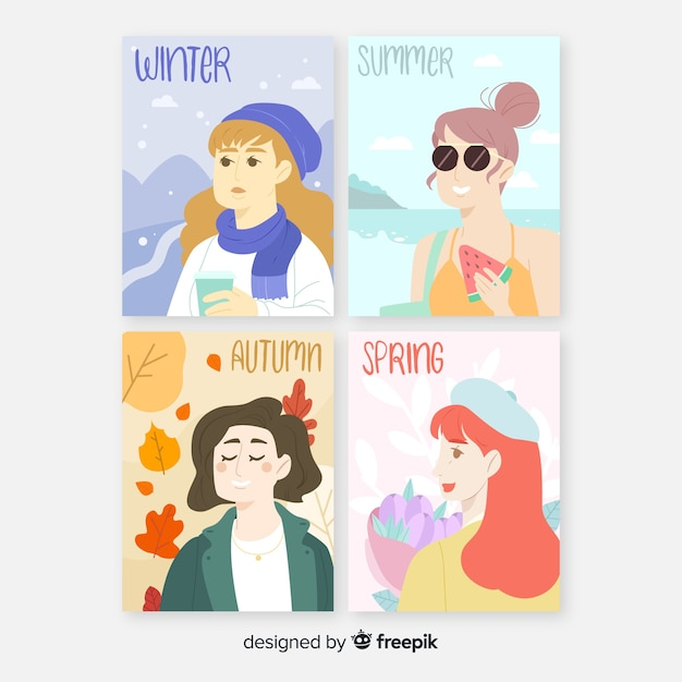 Watercolor seasonal poster template collection Free Vector