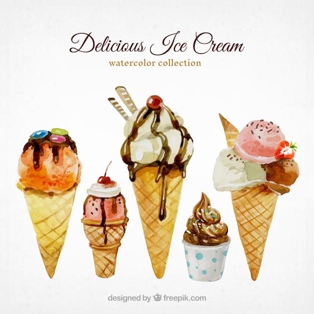 Icecreames Wallpaper On Tumblr: Watercolor Selection Of Tasty Ice Creams Vector