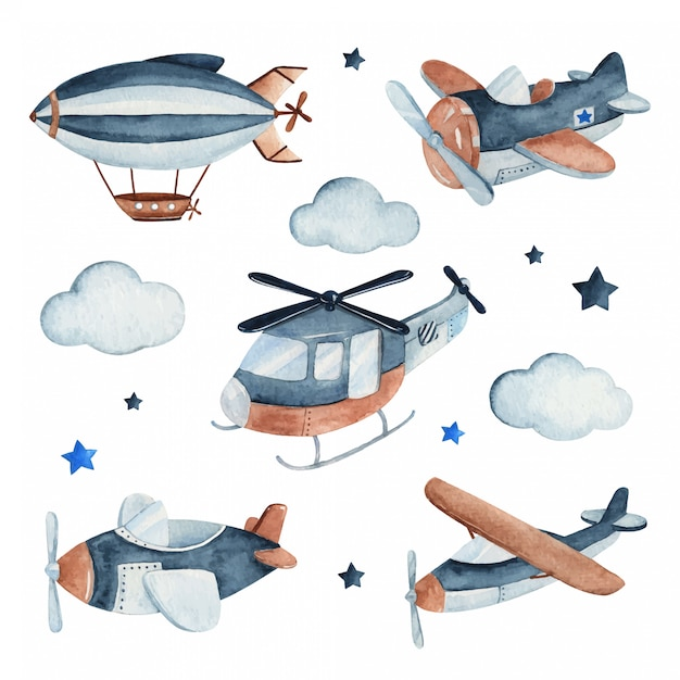 Watercolor set illustration of a cute and adorable air craft complete with airplanes, helicopter and zeppelin. Premium Vector