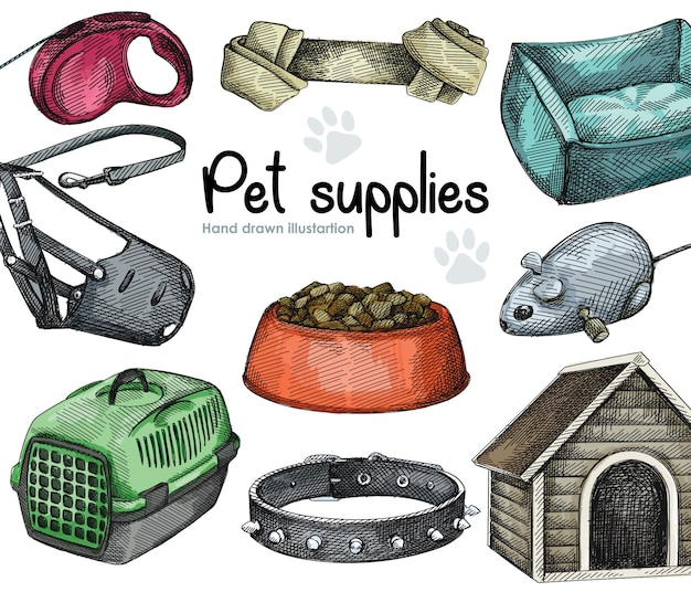 Watercolor set of pet supplies. dog collar with thorns, retractable dog leash, muzzle (mouth guard), wooden dog house, pet carrier, pet bed, knotted dog bone; mouse robotic toy; pet food bowl Premium Vector
