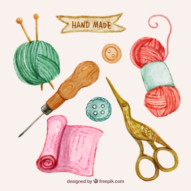 Watercolor sewing elements set  Free Vector
