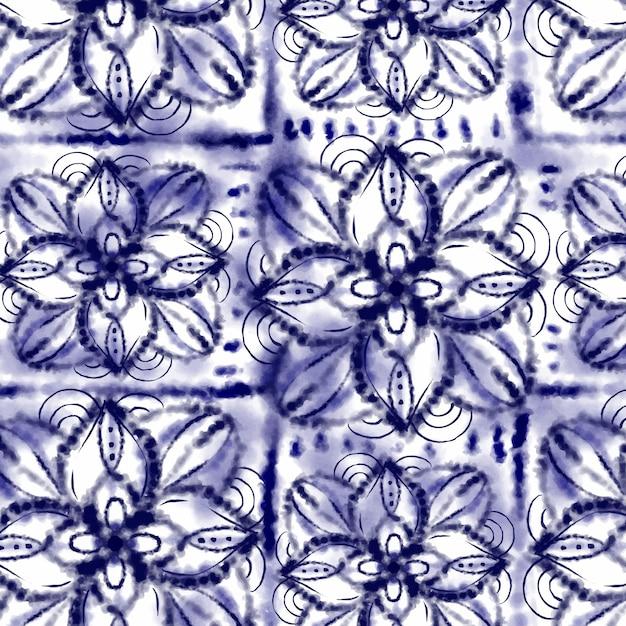 Watercolor shibori pattern Free Vector