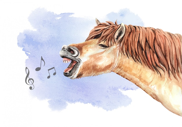 Watercolor singing horse with music note Premium Vector
