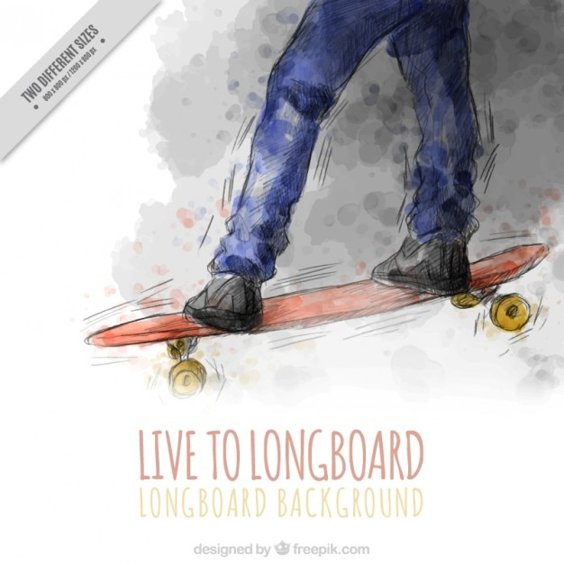 Watercolor skateboard background with a\ quote