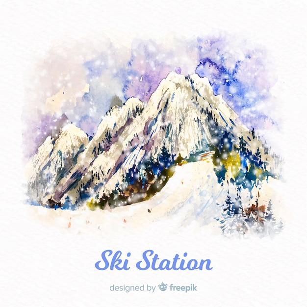 Акварельная лыжная станция Бесплатные векторы
