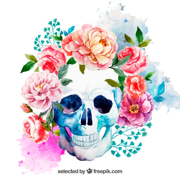 Watercolor skull with flowers Free Vector
