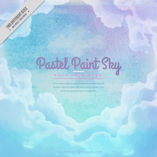 Watercolor sky background with clouds in pastel\ colors