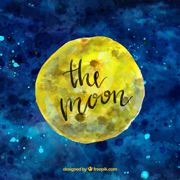 Watercolor sky background with moon Free Vector