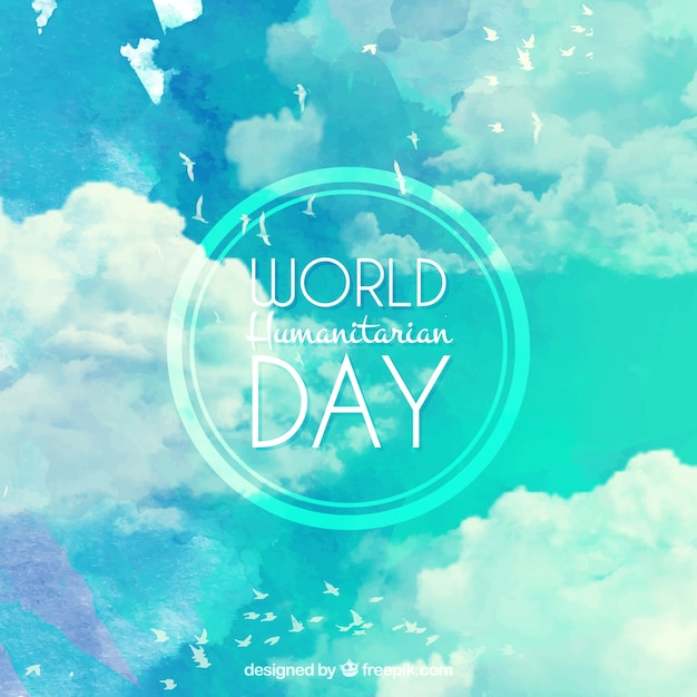 Watercolor sky background of world humanitarian day Free Vector