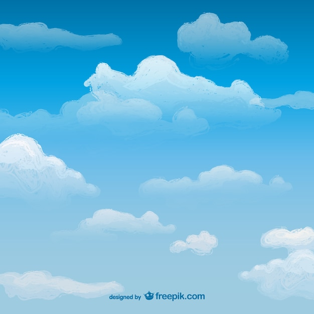 watercolor sky with clouds vector free download