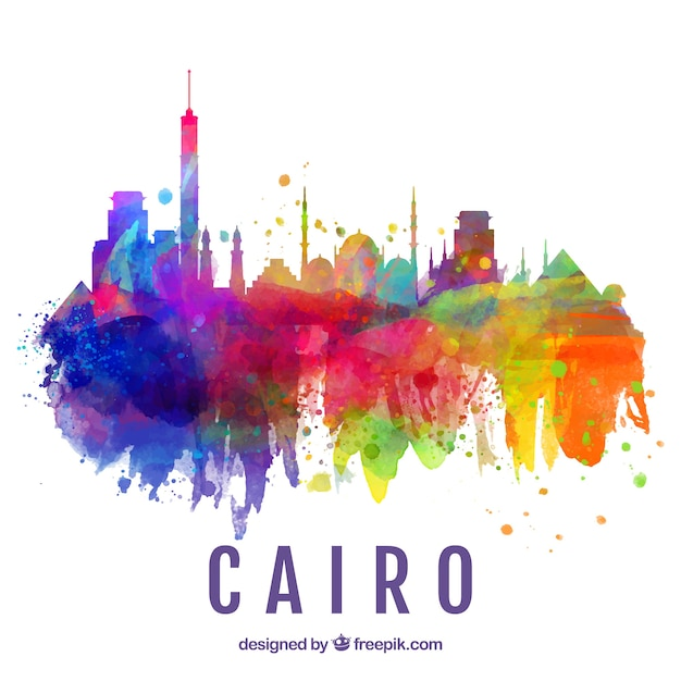 Watercolor skyline of cairo, egypt Free Vector