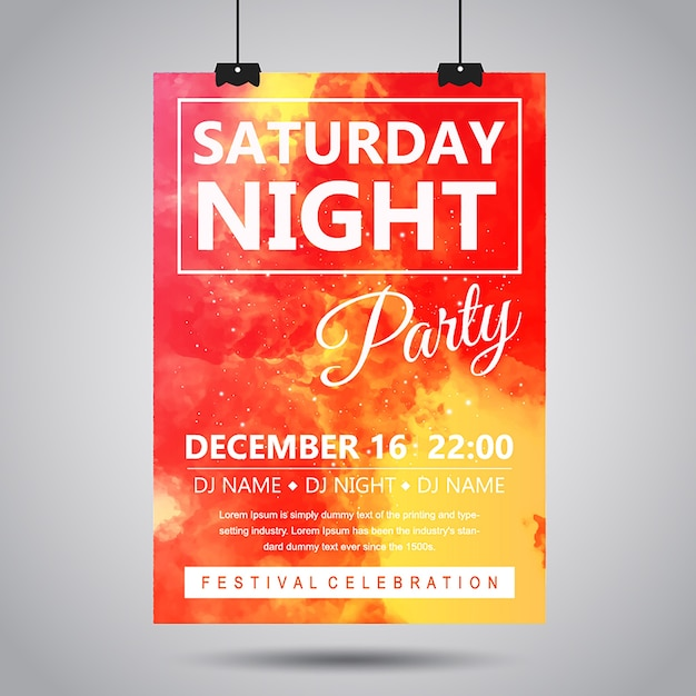 Watercolor smoke party poster Free Vector