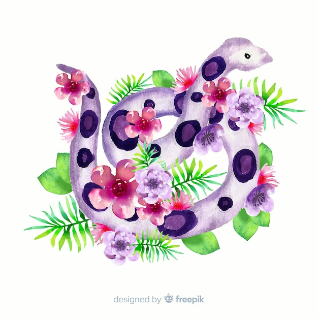 Watercolor snake with flowers illustration Free Vector