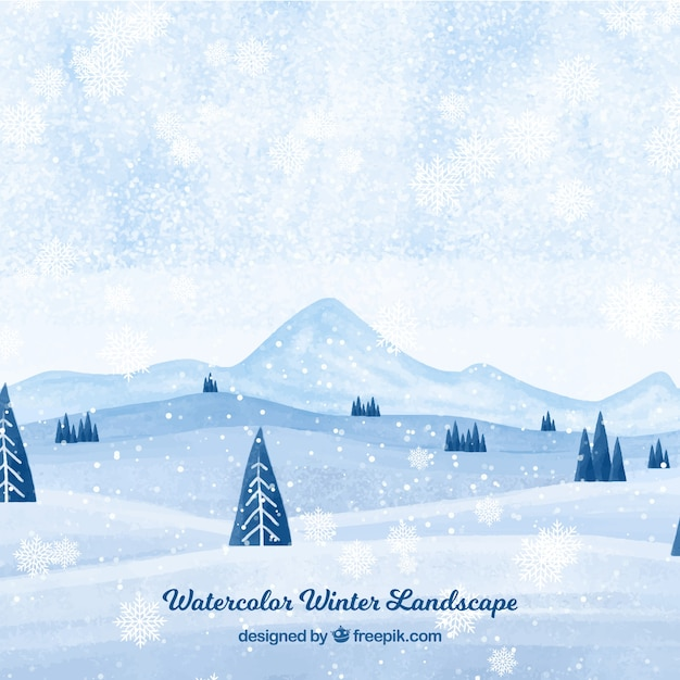 Watercolor snow landscape background Free Vector
